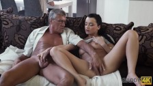 DADDY4K. Skillful old man manages to fuck comely brunette on sofa