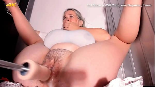 Huge Breasted Fat Pussy PAWG Cums and Creams All Over Mechanical Dildo With Shaking Orgasms